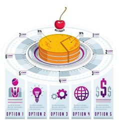 infographics template piece of pie idea vector image vector image