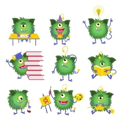 Kids education Monster character with book vector image