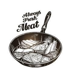 Meat steak in frying pan Hand drawn sketch vector image vector image