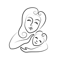 Mum with the child icon on white background vector image vector image