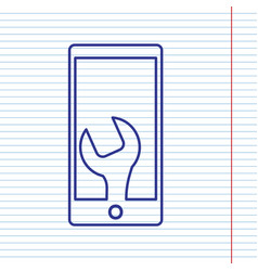 Phone icon with settings navy line icon vector