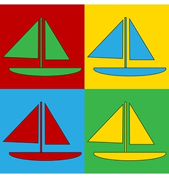Pop art sailing ship icons vector image