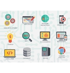 Programmer software developer icons set isolated vector image