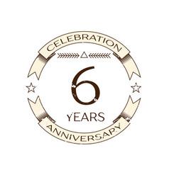 Realistic six years anniversary celebration logo vector