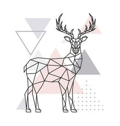 scandinavian deer side view geometric vector image