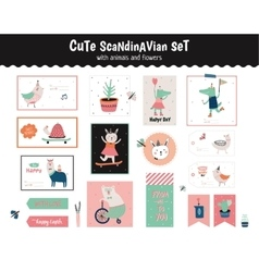Scandinavian set of greeting cards vector