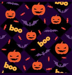 Seamless halloween pattern with pumpkins candy vector