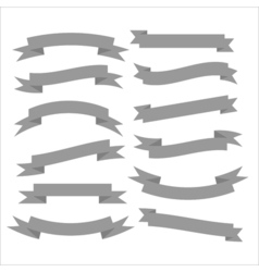 Set of beautiful festive grey ribbons vector image