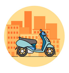 Side view blue scooter linear art vector