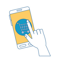 Smartphone device with shopping cart vector