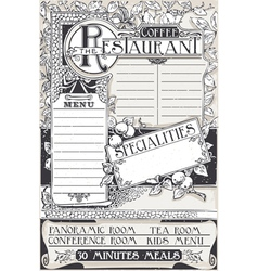 Vintage Graphic Page Menu for Restaurant vector image vector image
