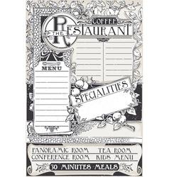 Vintage Graphic Page Menu for Restaurant vector image