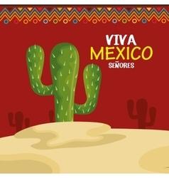 viva mexico cactus symbol design vector image