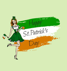 Woman in st patricks day costume vector