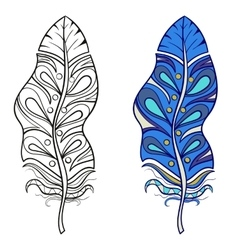 Zentangle stylized tribal feather for coloring vector