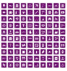 100 activity icons set grunge purple vector