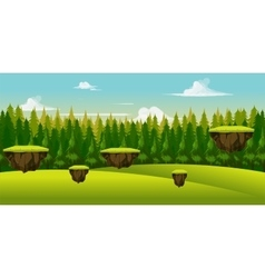 Forest and hill game background vector