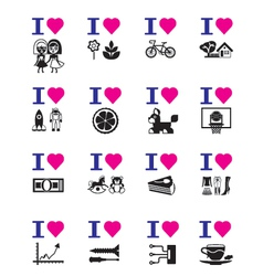 Funny love icon set vector