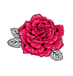 Tattoo style red rose with black outlines v2 vector