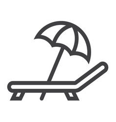 Beach umbrella with deckchair line icon travel vector