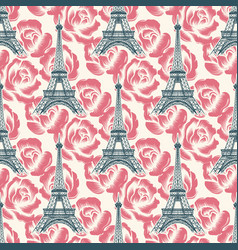 Vintage eiffel tower seamless pattern vector