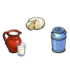 sketch milk-can milk pitcher glass cheese vector image
