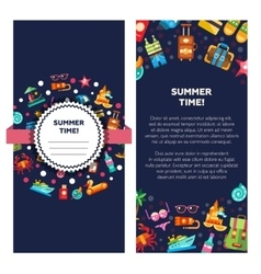 Flyer template of modern flat design seaside vector