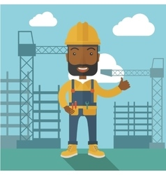 Black man standing infront of construction crane vector