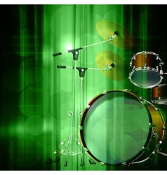 Abstract green music background with drum kit vector