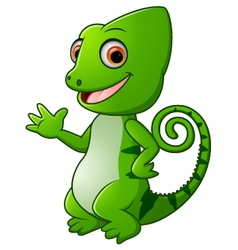 Cartoon funny green lizard posing vector