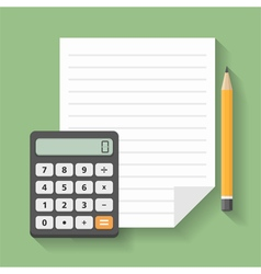 Calculator with paper and pencil vector