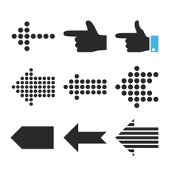 Pointers left flat icon set vector