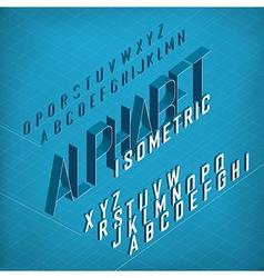 Isometric alphabet on blueprint abstract vector