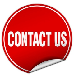 Contact us round red sticker isolated on white vector