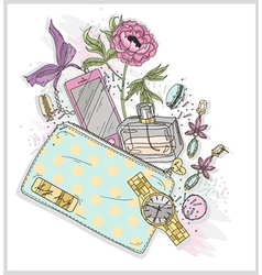 Background with purse mobile phone perfumeflowe vector image