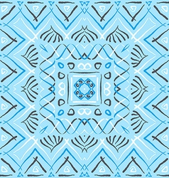 Blue square ethnic pattern vector image