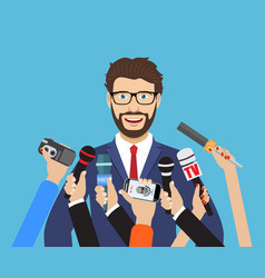 business man giving an interview vector image
