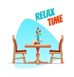 cafe table with two chairs vector image vector image