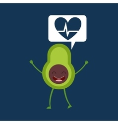 Cartoon heartrate avocado fruit vector