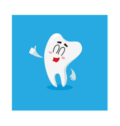 Cute and happy shiny white tooth character showing vector