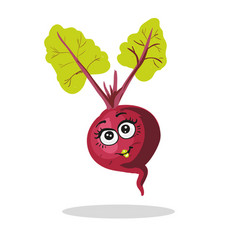 cute beet character girl with leaves isolated on vector image