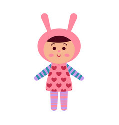 cute cartoon baby doll toy colorful vector image vector image