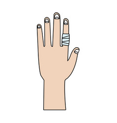 Drawing human hand with finger bandage medical vector