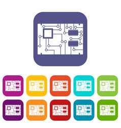 Electronic board icons set flat vector