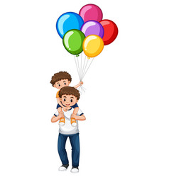 father and son holding balloons vector image vector image