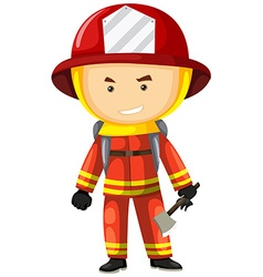 Fire fighter in safety uniform vector image vector image
