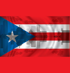 flag of puerto rico with san juan skyline vector image