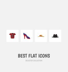 flat icon garment set of panama heeled shoe vector image