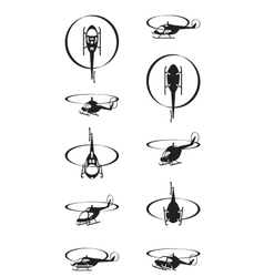 Flying helicopters in perspective vector image vector image