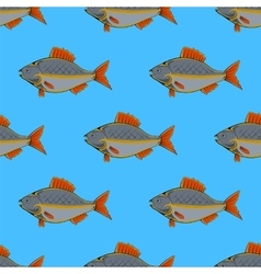 Fresh fish seamless pattern vector